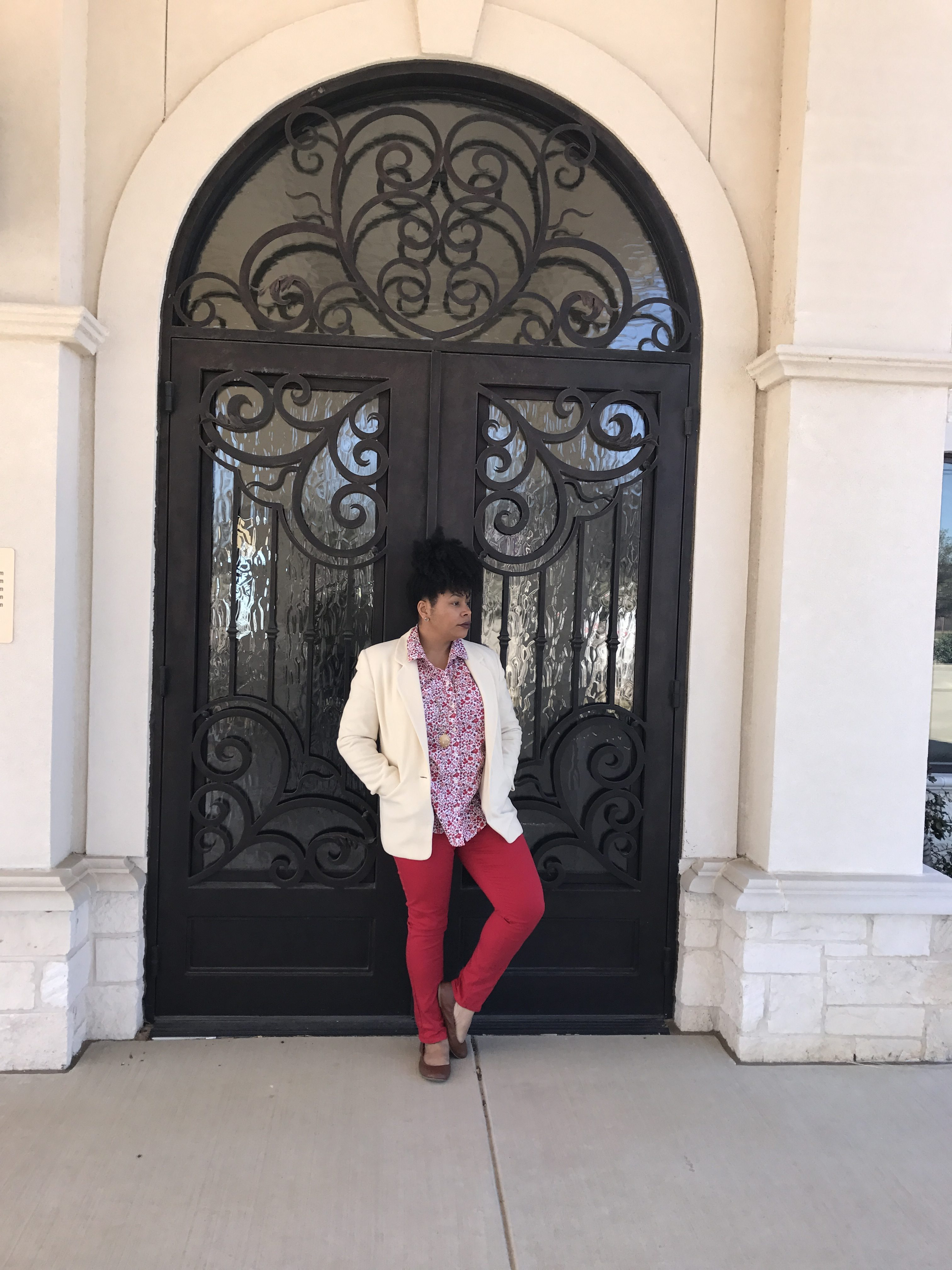 floral shirt, red skinny jeans, cream blazer