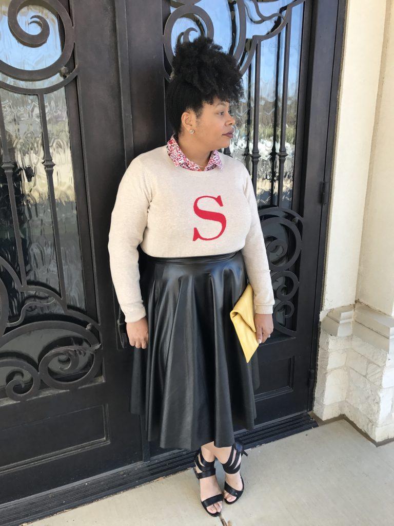 floral shirt, leather skirt, black skirt, black sandals