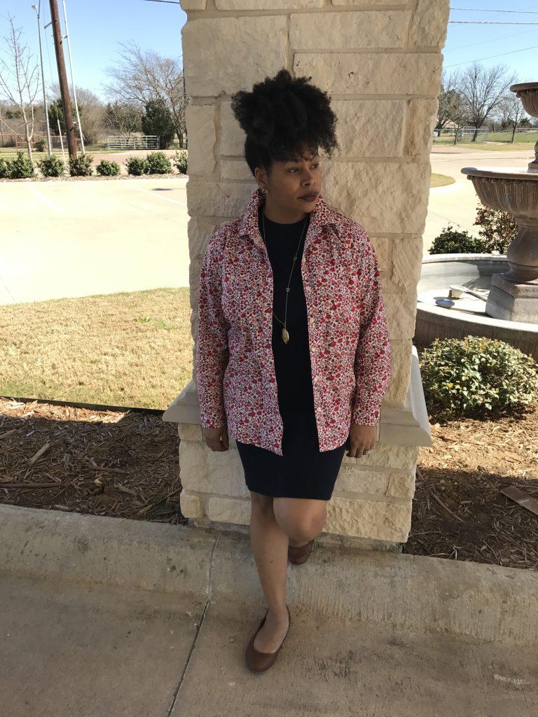 floral shirt, sweater dress